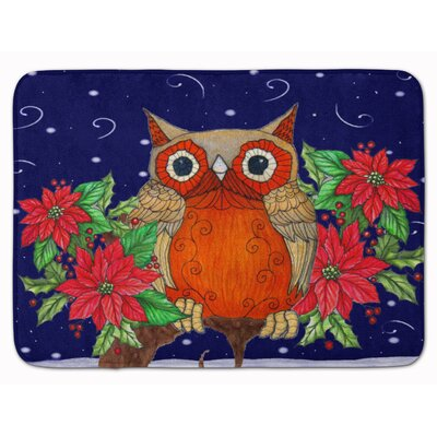Zachary Owl Whose Happy Holidays Memory Foam Bath Rug