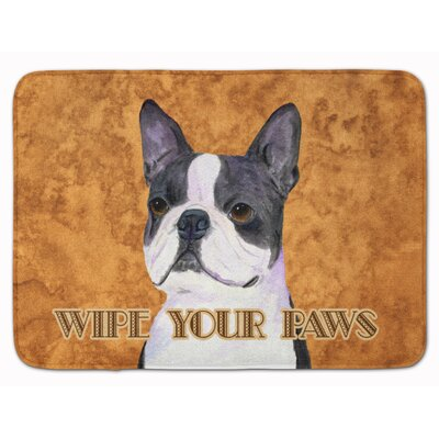 Boston Terrier Wipe your Paws Memory Foam Bath Rug