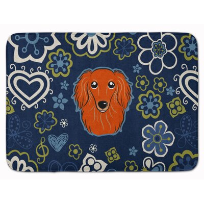 Longhair Dachshund Memory Foam Bath Rug Color: Orange