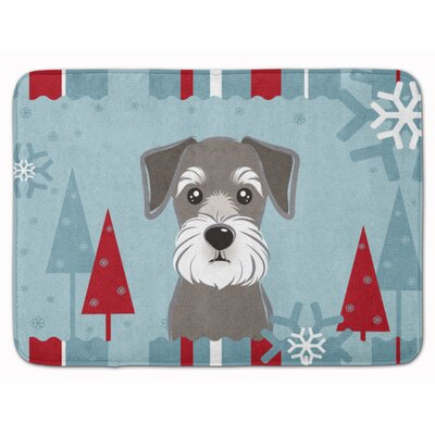 Winter Holiday Schnauzer Memory Foam Bath Rug