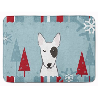 Winter Holiday Bull Terrier Memory Foam Bath Rug