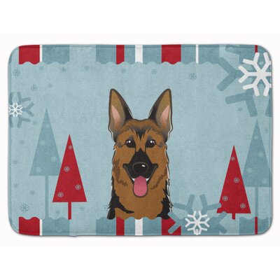 Winter Holiday German Shepherd Memory Foam Bath Rug