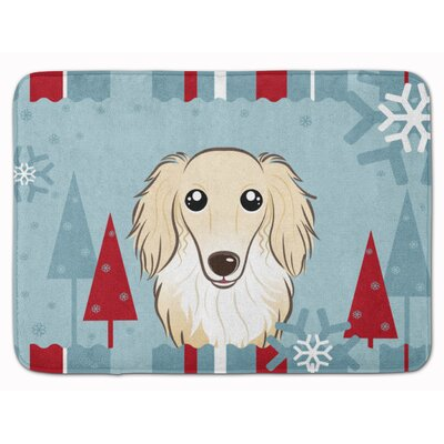 Winter Holiday Longhair Dachshund Memory Foam Bath Rug Color: Cream