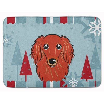 Winter Holiday Longhair Dachshund Memory Foam Bath Rug Color: Red