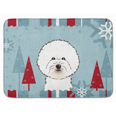 Winter Holiday Bichon Frise Memory Foam Bath Rug