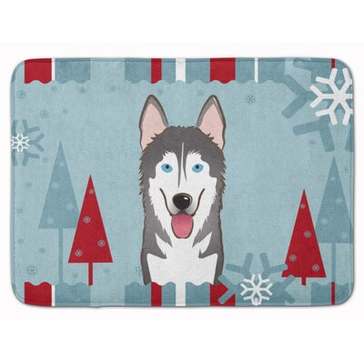 Winter Holiday Alaskan Malamute Memory Foam Bath Rug