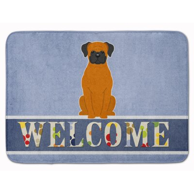 Welcome Flashy Fawn Boxer Memory Foam Bath Rug Color: Brown/Black