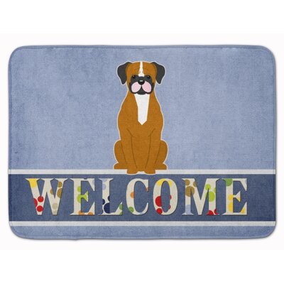 Welcome Flashy Fawn Boxer Memory Foam Bath Rug Color: Brown/White