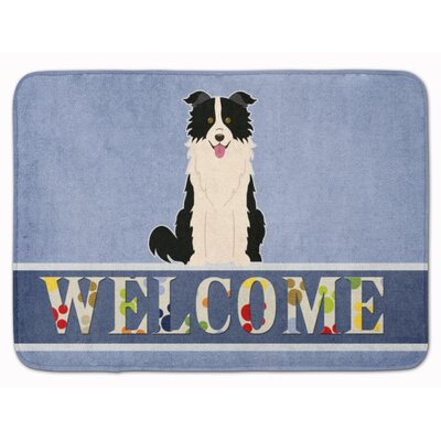 Border Collie Welcome Memory Foam Bath Rug Color: Black/White