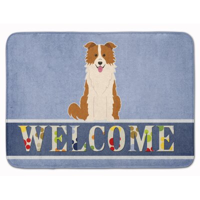 Border Collie Welcome Memory Foam Bath Rug Color: Orange/White