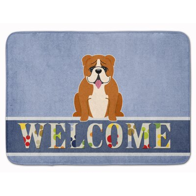 English Bulldog Welcome Memory Foam Bath Rug Color: Red/White