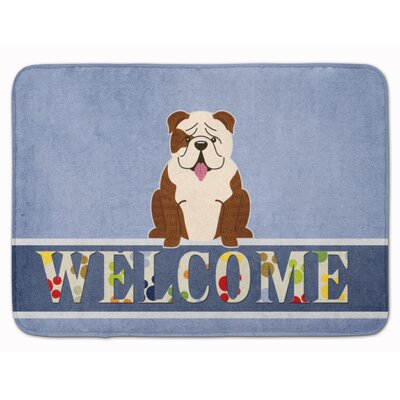 English Bulldog Welcome Memory Foam Bath Rug Color: White