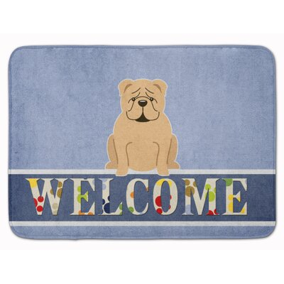 English Bulldog Red Welcome Memory Foam Bath Rug Color: Fawn