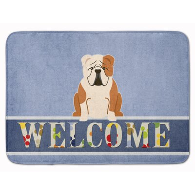 English Bulldog Red Welcome Memory Foam Bath Rug Color: Fawn/White