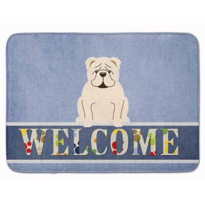 English Bulldog Red Welcome Memory Foam Bath Rug Color: White