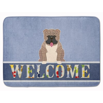 English Bulldog Brindle Welcome Memory Foam Bath Rug