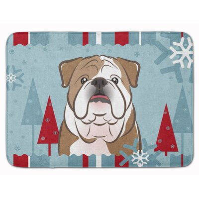 Winter Holiday Rectangle English Bulldog Memory Foam Bath Rug