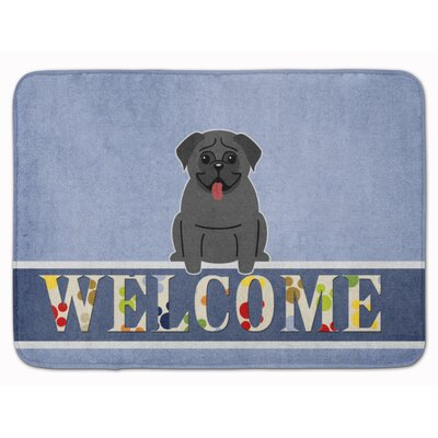 Pug Cream Welcome Memory Foam Bath Rug Color: Black