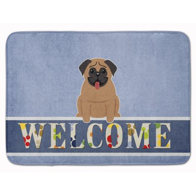 Pug Cream Welcome Memory Foam Bath Rug Color: Brown