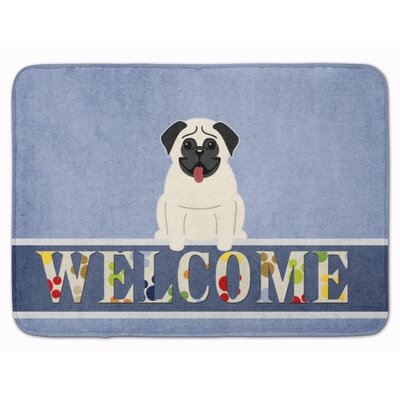 Pug Cream Welcome Memory Foam Bath Rug Color: Cream