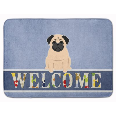 Pug Cream Welcome Memory Foam Bath Rug Color: Fawn