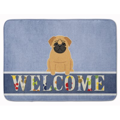 Pug Cream Welcome Memory Foam Bath Rug Color: Tan