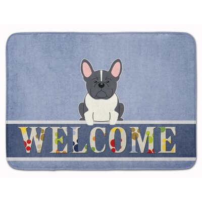 French Bulldog Welcome Memory Foam Bath Rug Color: Black/White