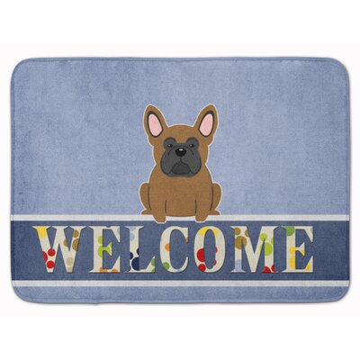 French Bulldog Welcome Memory Foam Bath Rug Color: Brown