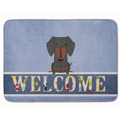 Dachshund Tan Welcome Memory Foam Bath Rug Color: Black/Tan