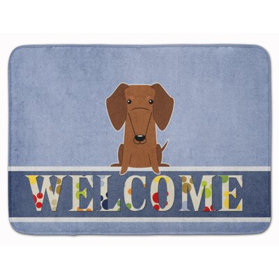 Dachshund Tan Welcome Memory Foam Bath Rug Color: Red/Brown