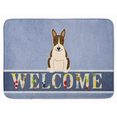Bull Terrier Dark Brindle Welcome Memory Foam Bath Rug