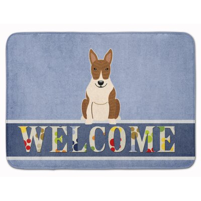 Bull Terrier Brindle Welcome Memory Foam Bath Rug