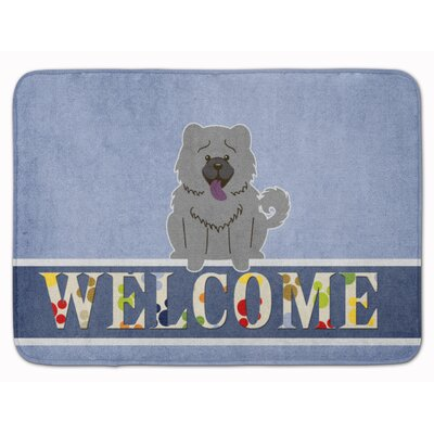 Chow Chow Welcome Memory Foam Bath Rug Color: Blue