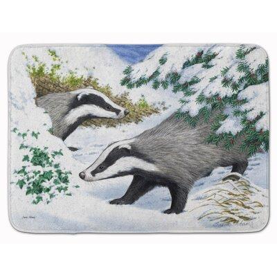Badger in the Snow Memory Foam Bath Rug