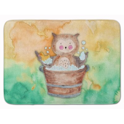Zachary Owl Bathing Watercolor Memory Foam Bath Rug