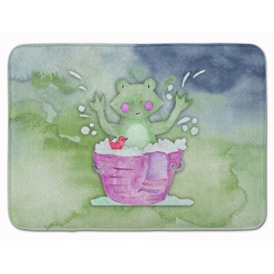 Frog Bathing Watercolor Memory Foam Bath Rug