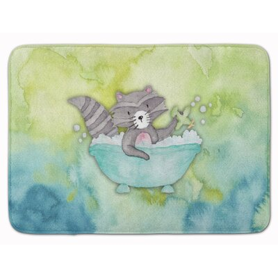 Brant Raccoon Bathing Watercolor Memory Foam Bath Rug