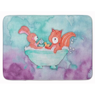Beulah Rabbit and Squirrel Bathing Watercolor Memory Foam Bath Rug