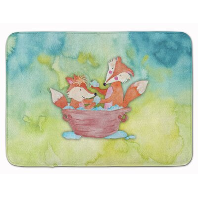 Foxes Bathing Watercolor Memory Foam Bath Rug