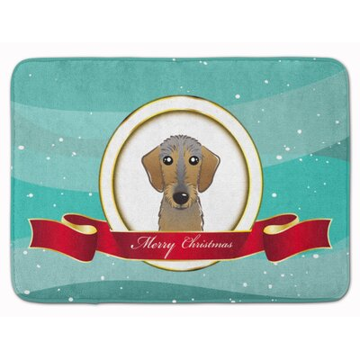 Wire Haired Dachshund Merry Christmas Memory Foam Bath Rug