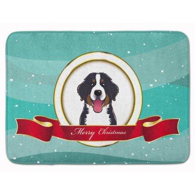 Bernese Mountain Dog Merry Christmas Memory Foam Bath Rug