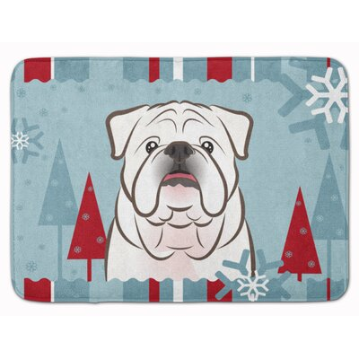 Winter Holiday English Bulldog Memory Foam Bath Rug