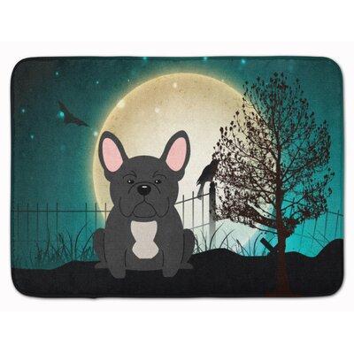 Halloween Scary French Bulldog Memory Foam Bath Rug Color: Black