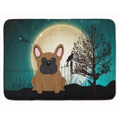 Halloween Scary French Bulldog Memory Foam Bath Rug Color: Brown