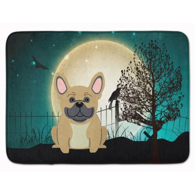 Halloween Scary French Bulldog Memory Foam Bath Rug Color: Cream