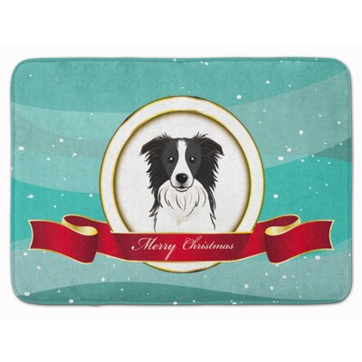 Border Collie Merry Christmas Memory Foam Bath Rug