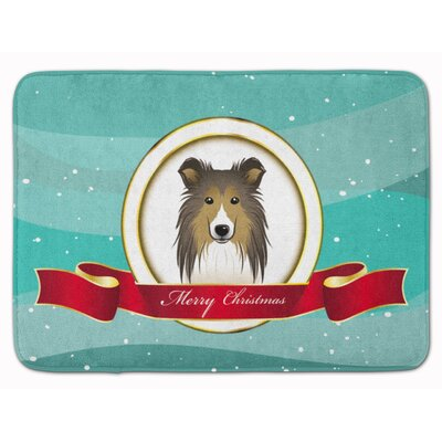 Sheltie Merry Christmas Memory Foam Bath Rug