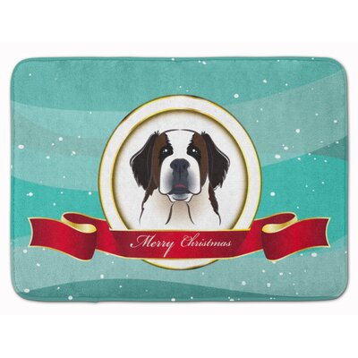 Saint Bernard Merry Christmas Memory Foam Bath Rug