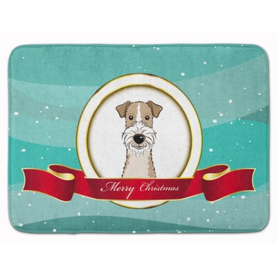 Wire Haired Fox Terrier Merry Christmas Memory Foam Bath Rug