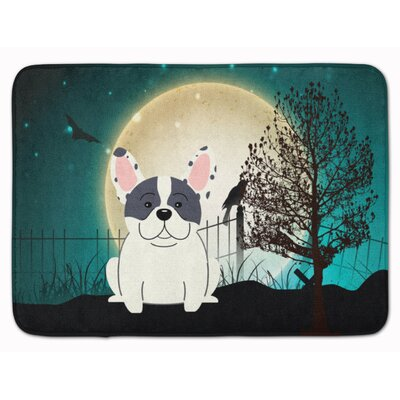 Halloween Scary French Bulldog Memory Foam Bath Rug Color: Piebald